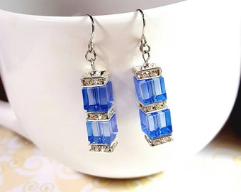 Clear Light Sapphire Cube Stacked Earrings, Square Gemstone Disks,Sapphire Cube Beaded Earrings, Stacked Blue Cube Earrings FREE US SHIPPING