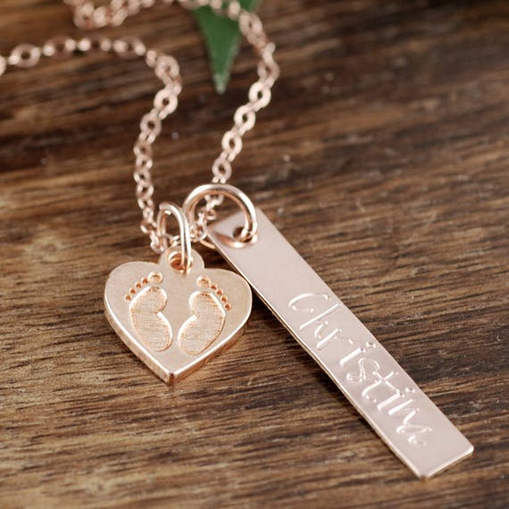rose gold mothers necklace with baby footprints new mom. Black Bedroom Furniture Sets. Home Design Ideas