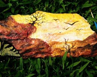 Rock Painting of Desert Landscape