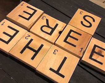 Family name scrabble letter tiles