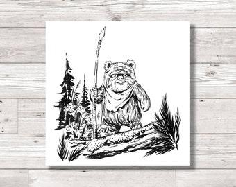Star Wars Wicket Ewok Digital Ink INKtober Print, Original Art Print, Original Artwork Print, Ink Print, Star Wars Fan Art
