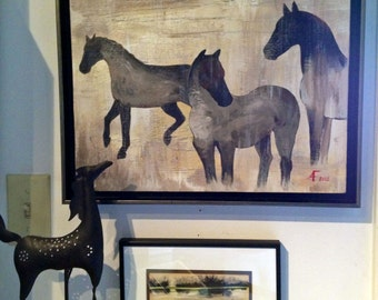 Three Horses Impressionistic Art Print Poster from Original Acrylic Painting by Amy Fulton11 x 14