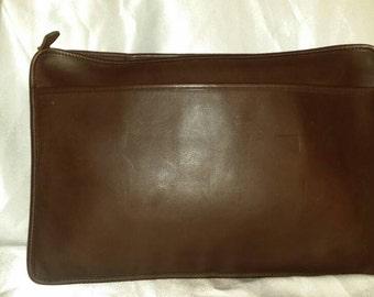 "Vintage XL 16"" Coach Brown Cowhide Leather Legal Portfolio Briefcase #5225~USA"