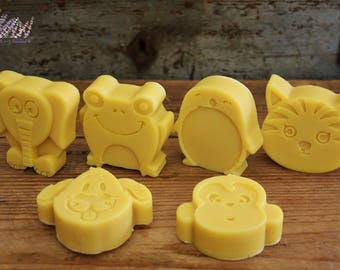 Handmade Baby Soap with Buttermilk, all natural, handcrafted, animal shapes, penguin, tiger/cat, dog, monkey, elephant, frog