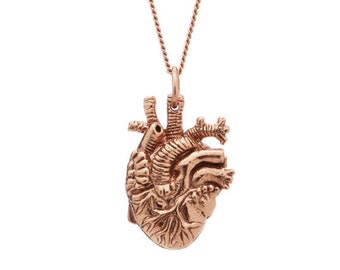 Anatomical Heart Pendant in Rose Gold