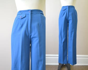 1960s Blue Wool Blend Trousers