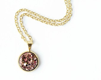 Druzy Jewelry, Rose Gold Druzy Pendant, Druzy Necklace, Gold Druzy Necklace, Pink Druzy Necklace, Gold Druzy Pendant, Gift for her under 30