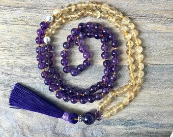 Citrine and Amethyst Mala Necklace  / Amethyst Japa Mala / Long Beaded Necklace / Meditation Beads / Yoga Necklace / Buddhist Necklace