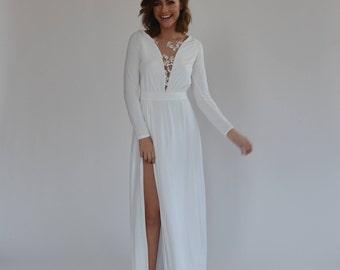 Simple wedding dress floor length,beaded flowers at the top boho wedding dress, long sleeve wedding dress, comfortable wedding dress