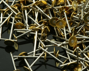 200 pcs stainless steel earring posts, findings with 4 mm brass pad 1795
