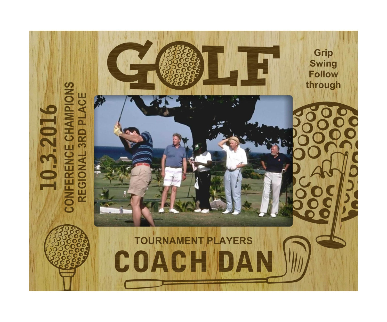 Personalized Golf Picture Frame, Wooden Custom Frame, Rustic Frames ...