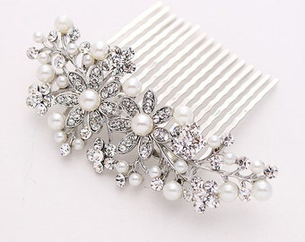 Bridal Hair Piece, Crystal Pearl Bridal Comb, Rhinestone Silver Headpiece, Wedding Hair Accessories, Bridal Hair Clip