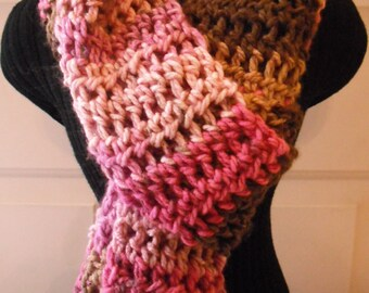 Pink/Brown Variegated Scarf, Women's Scarf, Scarf, Winter Scarf, Crocheted Scarf, Fashion Scarf