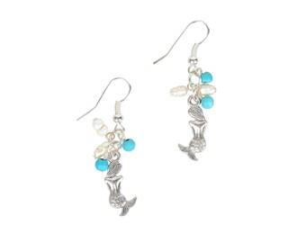 Mermaid Pearl Earrings in Grotto