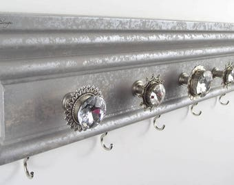 "Silver Necklace Holder 16"", Hanging Jewelry Storage Wall, Mounted Organizer, Accessory Rack, Mother's Day Gift"