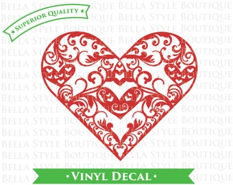 Heart Filigree Doily Lace VINYL DECAL