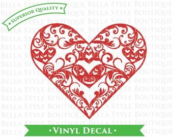 Coeur en filigrane napperon dentelle vinyle autocollant