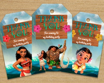 Moana Thank You Tags, Moana Tags, Moana Printable Tags, Moana Labels Tag, DOWNLOAD INSTANT Moana Birthday Favor Tag