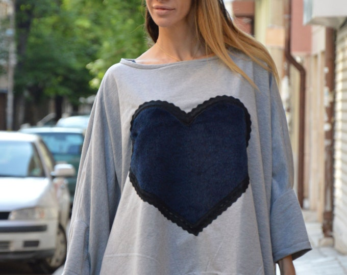 Gray Blouse with Heart, Cotton Loose Tunic Top, Maxi Blouse, Asymmetric Extra Large Top, Plus Size Tunic by SSDfashion