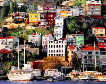 Colorful Houses On A Hill Bosphorus Istanbul photography, colorful wall decor