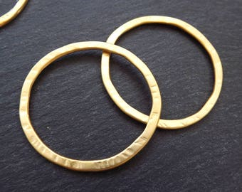 2 Medium Organic Round Ring Closed Loop Pendant Connector 43mm - 22k Matte Gold Plated