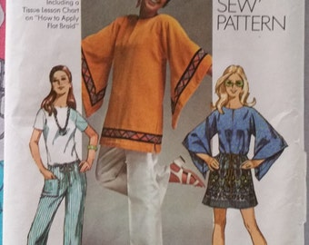 Simplicity 9178, size 12, bust 34, 1970s hippie, gypsy, Boho tunic and hip-hugger pants. Uncut, factory folded pattern.