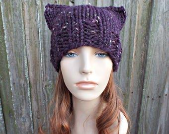 Raisin Tweed Purple Womens Hat - Purple Cat Beanie Hat Purple Knit Hat - Purple Hat Purple Beanie Pussyhat Pussy Hat