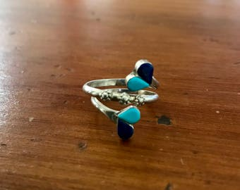 Silver, Lapis and Turquoise Ring