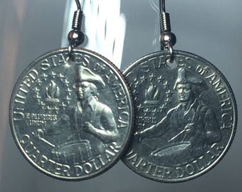1976 Bicentennial Quarter Earrings Free Gift Bag 42 Year Anniversary 42nd Birthday