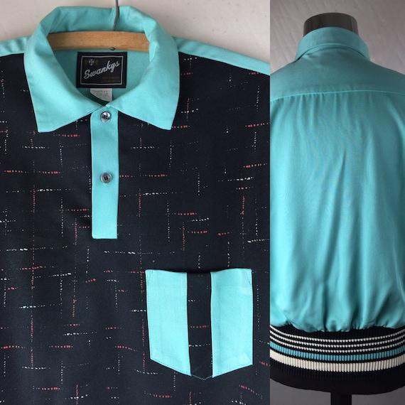 Vintage 50s Rockabilly Fleck Shirt - Wild Colours Rv2VK69tr0