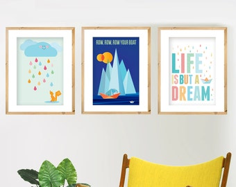 Set of 3 x A3 prints. Choose 3 designs - Nursery art, Mid Century, Retro posters, Geometric wall art.