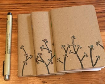 Journal: Hand-illustrated Pocket Notebook Set of Three