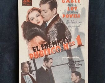 Original 1934 Manhattan Melodrama Spanish Herald Movie Poster Clark Gable, Myrna Loy, William Powell
