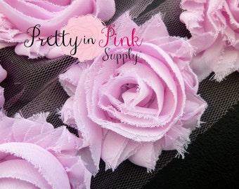 LIGHT PINK Shabby Rose Trim - Shabby Chiffon Rosettes - 1/2 Yard or 1 Yard - Shabby Flower Trim - Wholesale Shabby Flower - Chiffon Flower