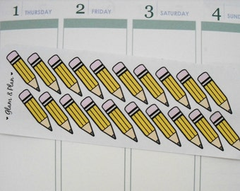 20 Pencil Stickers | Erin Condren Filofax Happy Planner