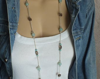 """44"""" Sterling Silver Long Layer Necklace, Blue & Brown- Chalcedony, Amazonite and Smokey Quartz Necklace: Brown, Turquoise, and Blue Necklace"""