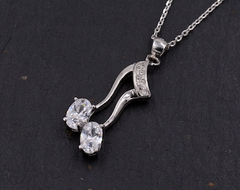 Sterling Silver Dali Inspired Wavey Music Symbol Pendant Necklace with Sparkly CZ Crystals  Y66