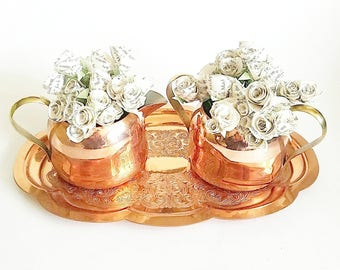 Vintage copper coffee creamer set. Tray and creamers. Paper flowers made from vintage books. Copper collection. Copper collector gift Copper