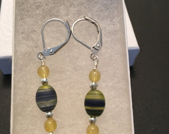 Blue& Yellow Glass Bead Earings