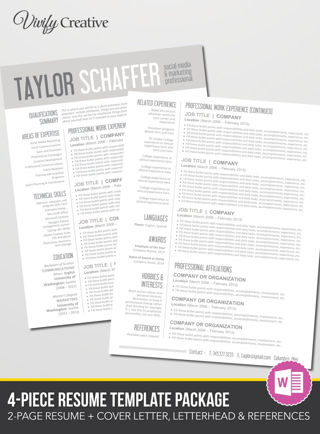 Resume Template Download Editable Instant Download 2 Page
