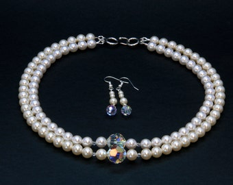 Artisan Created 2-Strand Swarovski Pearl Necklace and Earring Set, Cream and White, with Swarovski Crystals