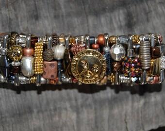 mixed metal safety pin bracelet