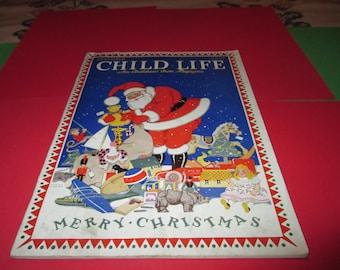 Vintage December Child Life magazine, teacher's edition Christmas magazine,Santa with toys, 1930's, Christmas ephemera, patriotic colors
