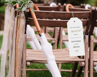 Reserved Wedding Ceremony Seating Tag, Reserved Chair Tags, Wedding Ceremony Reserved Seat Sign, Wedding Chair Tag Template - KPC03_406