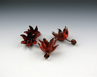 Enameled Bellflower Caps /  Orient Red Enamel / Made to order