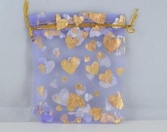 3x4 Metallic Hearts Party Favor Organza Bags Sold by 1 dozen