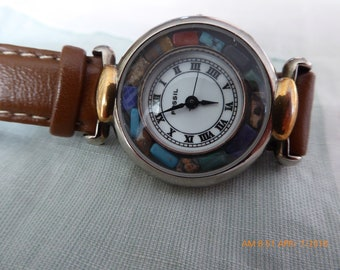 Vintage Fossil Watch With A Turquoise Bezel, Circa 1990's