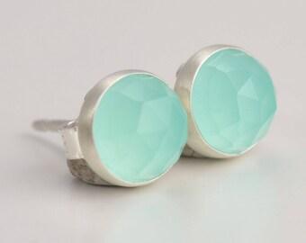 aqua chalcedony 6mm rose cut sterling silver stud earrings pair