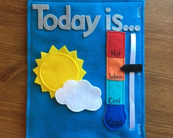 Weather Felt Book Page (2 pages) Preschool Activity, Learn the Weather, What's the Weather, Sunny, Cloudy, Rainbow, Lightening, Toddler Gift