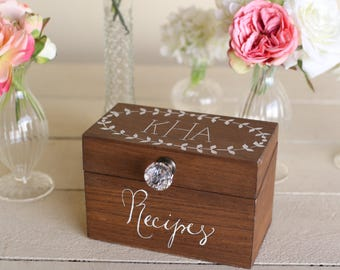 Personalized Wood Recipe Box Monogrammed Bridal Shower Gift Wedding Present Custom Monogrammed (MMHDSR10044)
